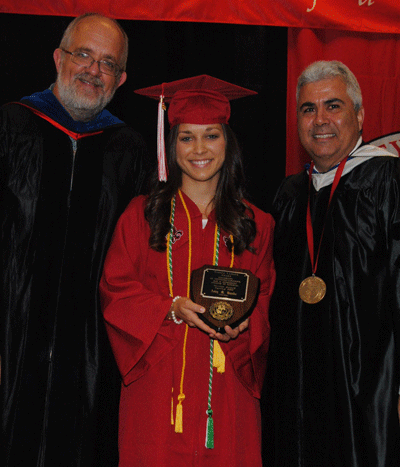 Amy Hanks receiving the Spring 2015 Dr. Sigred Lanoux Service Award from Dr. Paul Leberg and Dean Ackleh
